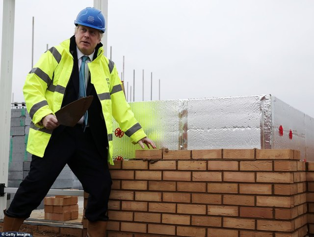 During the 2019 election campaign, Mr Johnson tried his hand at brick-laying while visiting a construction site in Bedford