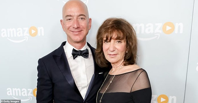 His mother, Jacqueline Bezos (pictured right), saved the home-made toys for 48 years and dug them up a week before launch, prompting Bezos (left) to ask Shatner to take them into space with her, 'Please don' ' Don't judge me for the artwork.  Thank you, Bill!'