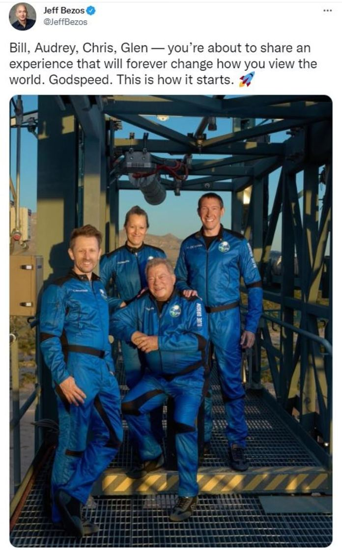 The crew, which also includes Chris Boshuizen, Glenn de Vries and Audrey Powers, is launching on Blue Origin's 60-foot-tall New Shepard rocket at 10 a.m. ET from the company's Launch Site One in Van Horn, Texas.
