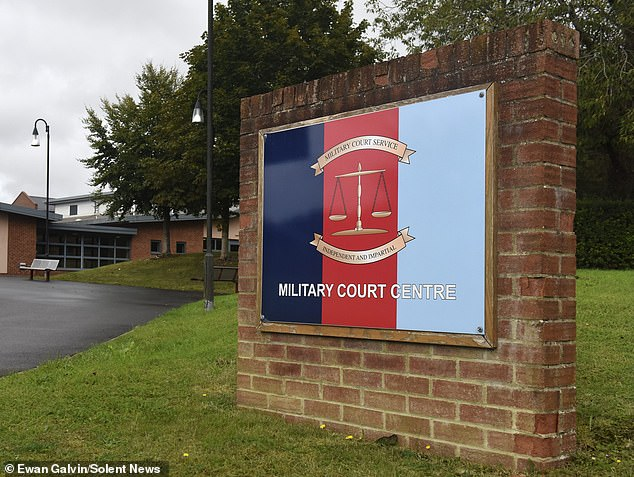 Bulford Military Court (pictured) where Sapper Samuel Webster was convicted of scalding a colleague's privates by throwing boiling water over him after he stole a slice of his pizza
