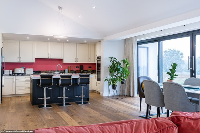 Geoff says that he's got enough money to start the project but to finish it, he'll have to sell his villa in Spain. Pictured, the finished kitchen
