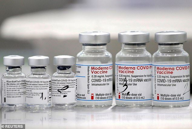 The NIH plans to present data showing that J&J recipients have higher antibody levels if they get a booster shot from Pfizer or Moderna.  Image: Vials of Pfizer-BioNtech and Moderna COVID-19 Vaccines, February 2021