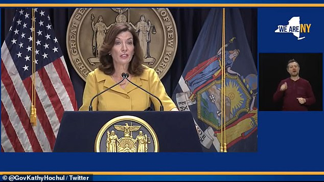 New York Governor Kathy Hochul said during a press briefing on Wednesday (above) that 3% of health care workers in the state — about 25,000 people — were fired, resigned, for not vaccinated against COVID-19, retired or went on vacation.