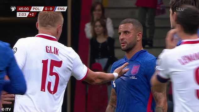 Walker was left dumbfounded by Glik's pinch but his team-mates reacted furiously soon after