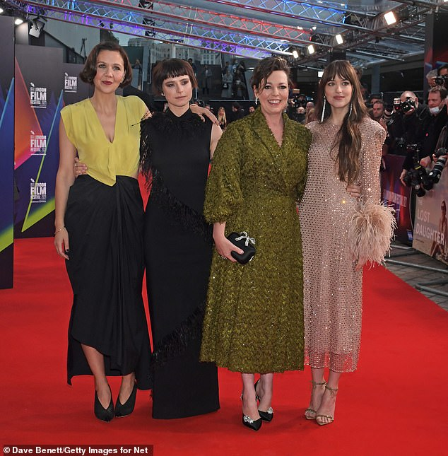 Film:The actress was joined on the red carpet by co-stars Dakota Johnson and Jessie Buckley and director Maggie Gyllenhaal