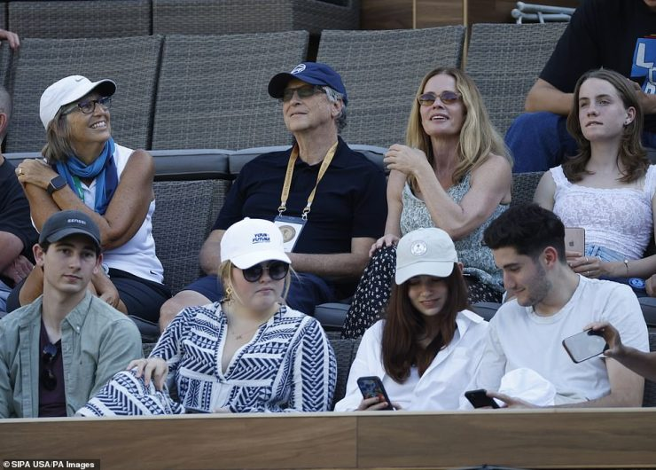 Bill was on the opposite side of the country Sunday attending the tennis match between Cori Guff and Caroline Garcia of France during the 2021 BNP Paribas Open in Indian Wells, California