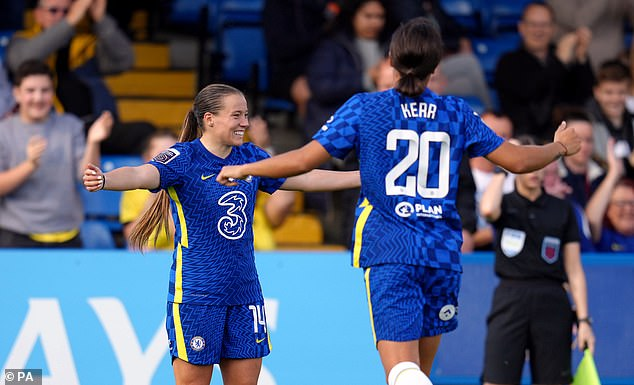But it was Chelsea who grew into the game and started to dominate possession, with Fran Kirby and Sam Kerr almost combining for the opener
