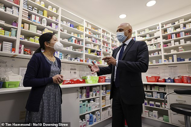 The new battle plan for improving access to GPs gives pharmacists the power to prescribe a number of medicines which are currently the sole preserve of doctors. Javid, pictured right, met community pharmacist Cynthia Langworth at Keencare Pharmacy in London