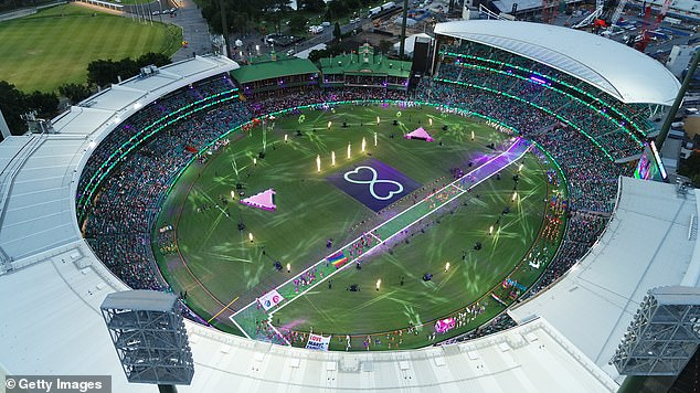 Sydney's Gay and Lesbian Mardi Gras parade will be relocated from Oxford Street to the SCG for a second year in a row (pictured: Aerial view inside the SCG during the 2021 event)