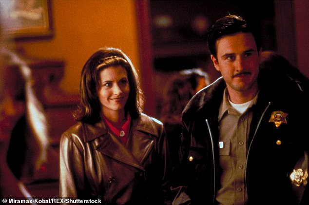 Iconic: Arquette will be making a return as Dewey Riley - the resident Sheriff of the town and a role he has played since the original Scream back in 1996. Pictured Arquette with Courteney Cox in the original Scream