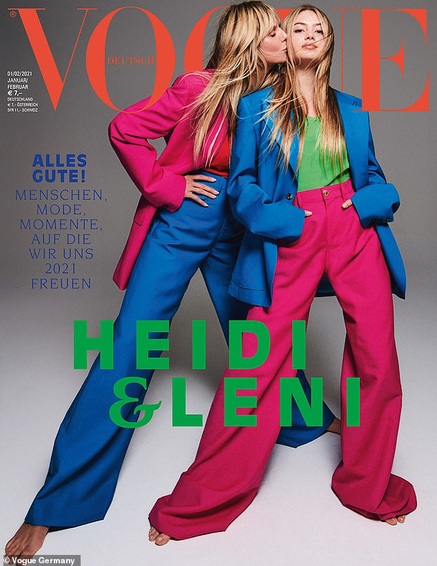 Launched: Leni made her professional debut on a cover for the January / February issue of Vogue Germany alongside her famous model mom