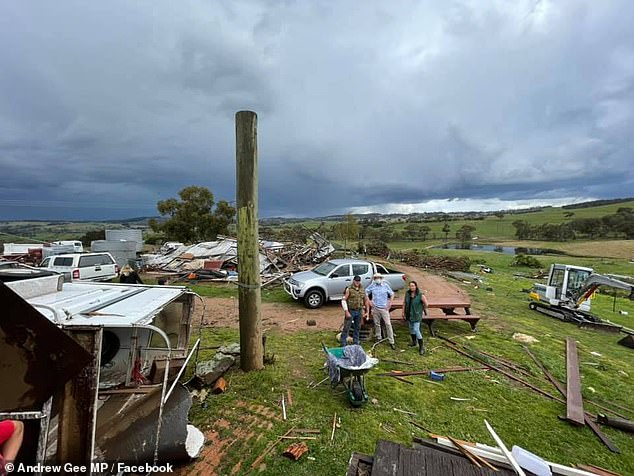 Mr McKinnon and his partner are in the process of salvaging what they can of their home and starting painstaking efforts to rebuild (pictured, damage to their Meadow Flat property)