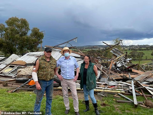 Pom Pom's owner Scott McKinnon (left) lost his home at Meadow Flat near Lithgow on the NSW Central Tablelands in just 30 seconds on September 30