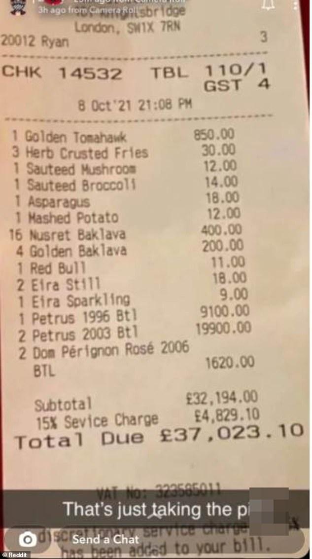 A customer has been slammed after spending £37.000 at celebrity restaurant Nusr-Et Steakhouse in London's Knightsbridge