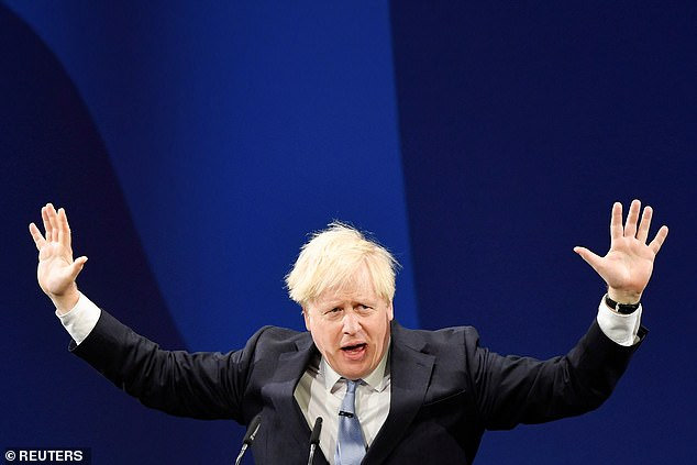 Boris Johnson (pictured at Tory conference last week) has insisted he will suspend the protocol if it is the only way of easing the problems