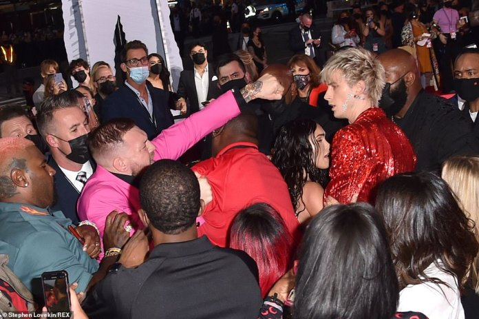 Oh dear:Conor made headlines last month after he had a heated altercation with Machine Gun Kelly at the MTV Video Music Awards