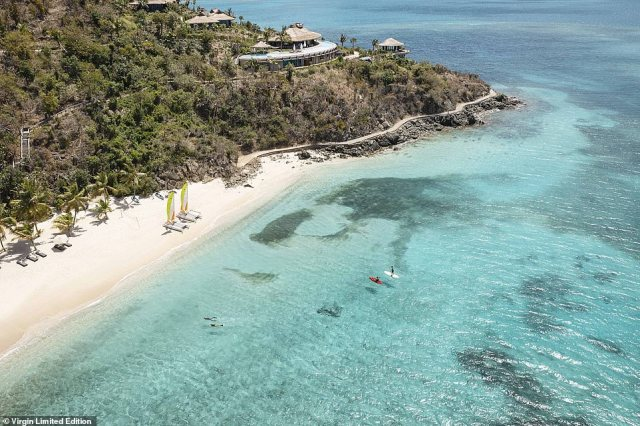 Virgin recommends snorkelling through the nearby 'unspoiled reefs and shipwrecks' and swimming with turtles