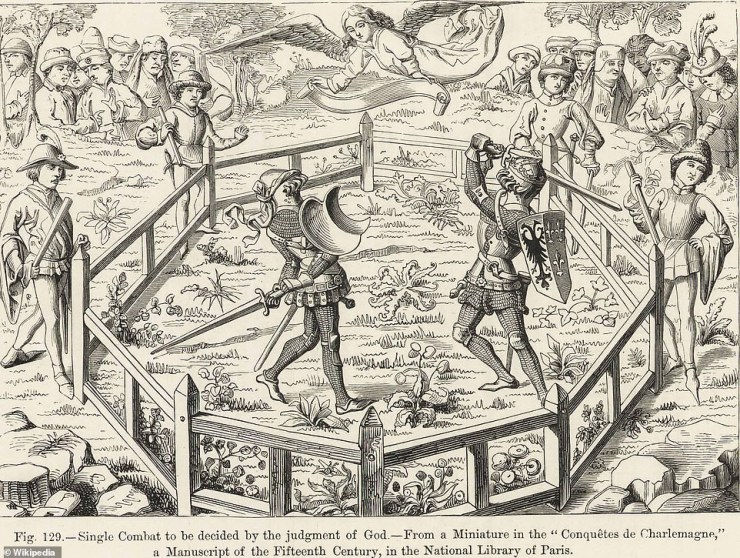 The case's notoriety ensured that neither France's parliament or the king ever allowed trial by combat again. Above: A depiction of a duel in France