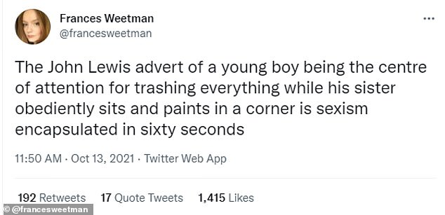 Twitter users have accused the retail giants of sexism after the boy caused carnage throughout the house