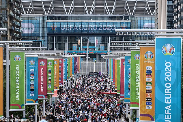 Huge crowds gathered outside Wembley, including many without tickets, before the final