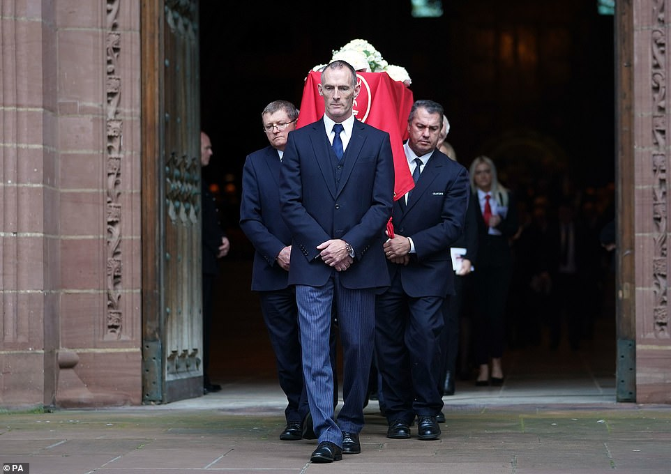 The coffin was then carried out of the cathedral just after 12pm with 'You'll Never Walk Alone' played at the service's end