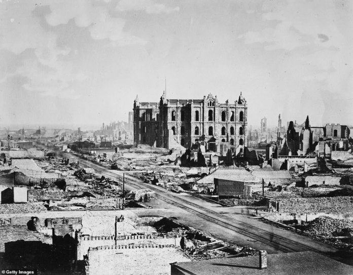 This past week marked the 150th anniversary of the Great Chicago Fire of 1871 which killed some 300 people, incinerated 17,000 buildings, destroyed wide swaths of the city, caused $200million in property damage, and left about a third of its population homeless. The image above from October 1871 shows the ruins in the aftermath of the fire