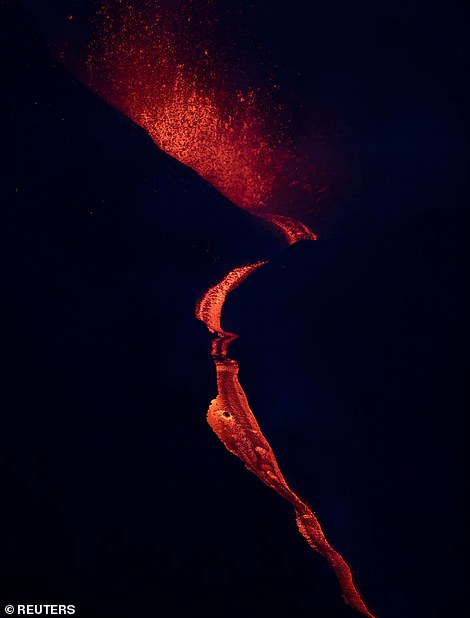 Nearly 100 houses have been devoured by the lava flow in the last 24 hours