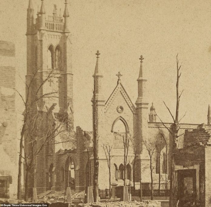 St. James Episcopal Cathedral, the seat of the Episcopal Diocese of Chicago which dates back to the founding of Chicago in the 1830s, was destroyed in the Great Chicago Fire of 1871