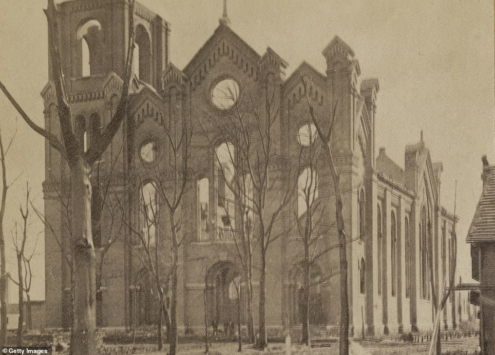 The image shows the ruins of St. Michael's Church in the Old Town section of Chicago