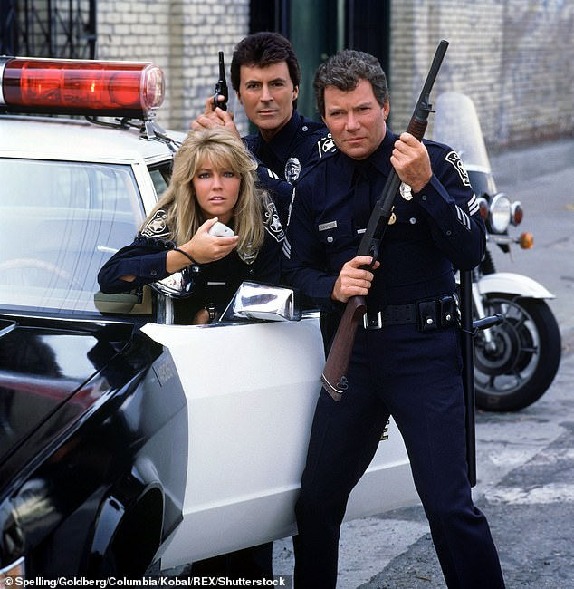 Flashback: Heather, 60, was also asked about the space flight of her former TJ Hooker co-star William Shatner the day before, where he spent three minutes 65 miles above Earth;  Heather with William Shatner (right) and James Darren (back) from a 1984 promo shot for TJ Hooker