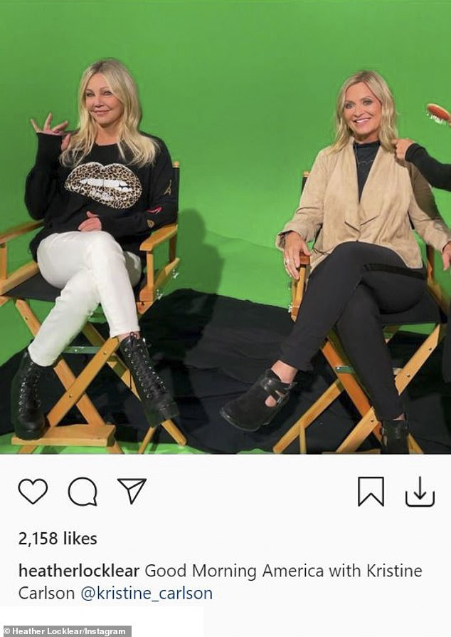 Interview time: Heather also posted a backstage snap with Kristine on her Instagram, complete with the green screen background