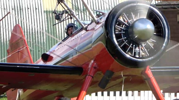 Skills: The Top Gun actor, 59, can be seen learning to fly a 1943 Boeing-Stearmann Model 75 with the help of former German Air Force pilot Klaus Plassa.