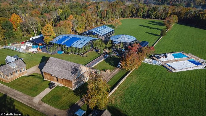 Exclusive DailyMail.com photos show tents being erected at Jennifer's 124-acre, $16million horse farm in North Salem, New York, that her parents bought her in 2018 after she graduated from Stanford University