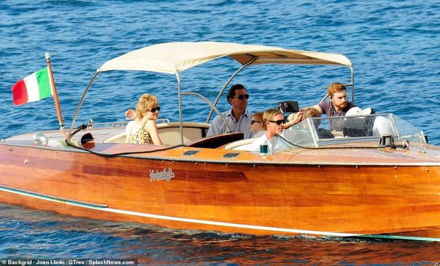 At work: The Crown actors were busy filming the new scenes in sunny Mallorca today, while on a lavish boat in the waters