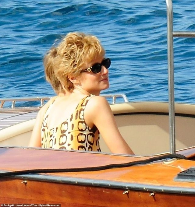 Princess Diana sported a stylish animal print swimsuit in St Tropez during the summer of 1997. She accessorised with gold hoops and fashion-forward sunglasses. Pictured,Elizabeth