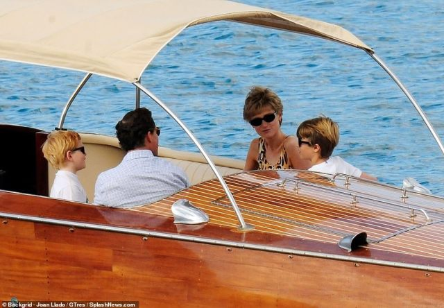 Family trip: The actors playing Prince Harry and Prince William accompanied Dominic and Elizabeth on the boat