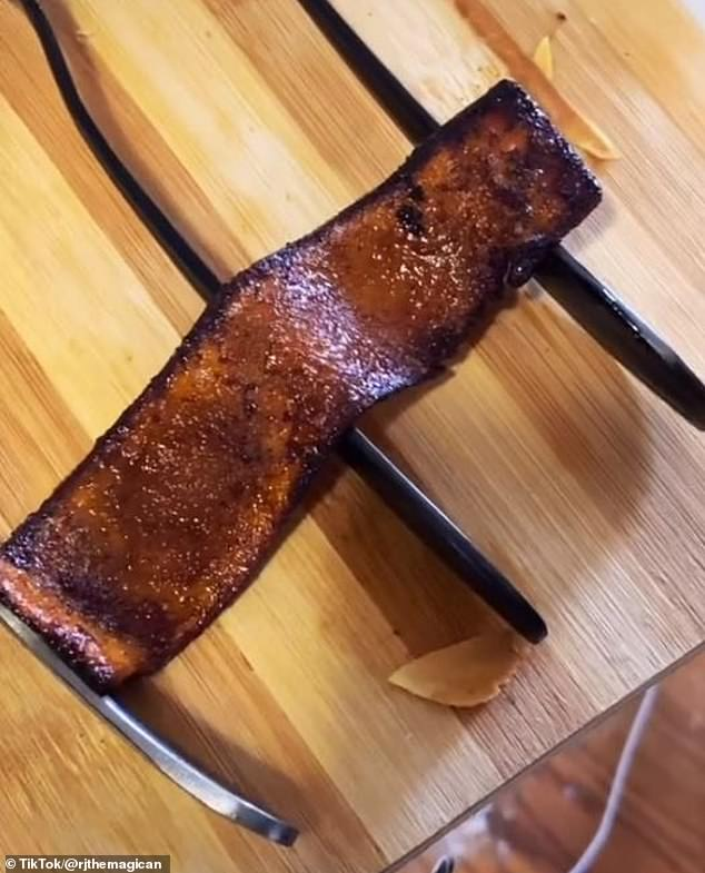 'It's literally almost like candied bacon. This is the best thing I've ever created,' he says