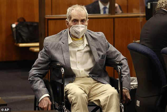 Robert Durst, 78, was sentenced Thursday for the murder of Susan Berman. He is pictured in court last month during closing arguments
