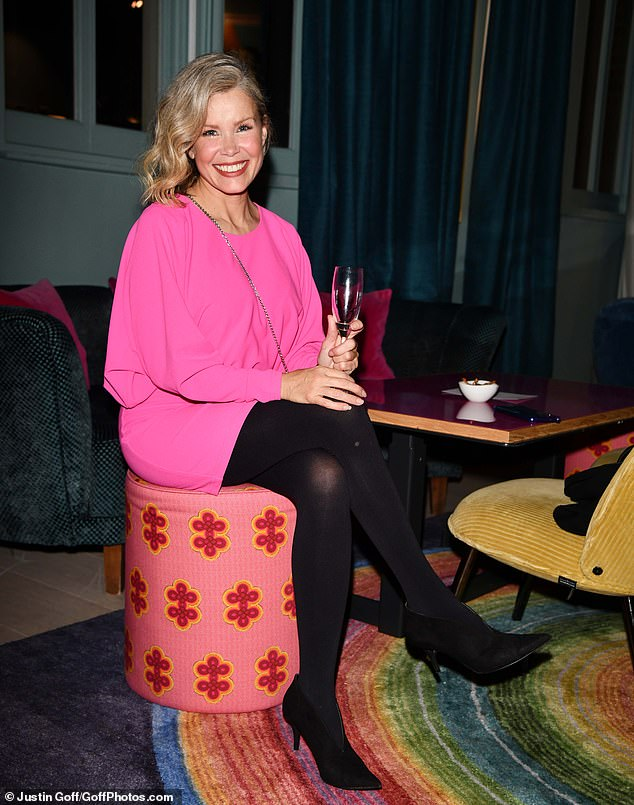 Chic: Melinda Messenger looked chic as she attended a sparkling evening event in London on Thursday