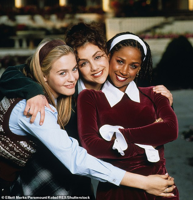 Iconic: Stacey became a household name after appearing as Dione in theAlicia Silverstone-led teen comedy Clueless; (L-R) Alicia, Brittany Murphy, and Stacey pictured in 1995