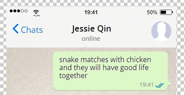 Barry Wang allegedly sent Jessie Qin the above message that led to them meeting up