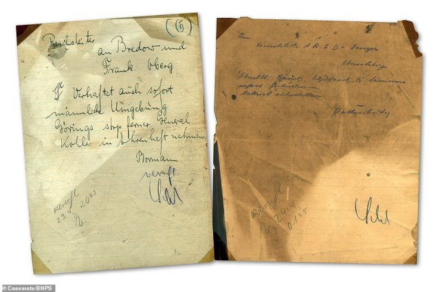 The fascinating letters, telegrams, and personal effects include the Nazi dictator Adolf Hitler's last futile military order and an announcement of his decision to kill himself (Pictured: Fire damaged, hand-written telegrams sent by private secretary Martin Bormann following Nazi armed forces leader Herman Goring's 'treason', in which he attempted to take control of the Third Reich amid the chaos at the end of the war)