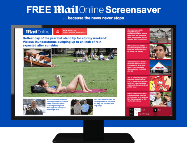 Free Daily Mail Online Screensaver | Daily Mail Online