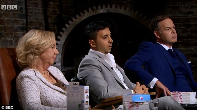 Deborah Meaden,  Tej Lalvani and Peter Jones (pictured left-right) all made offers of £100,000 that were rejected by the ambitious trio because they asked for a larger stake in the business