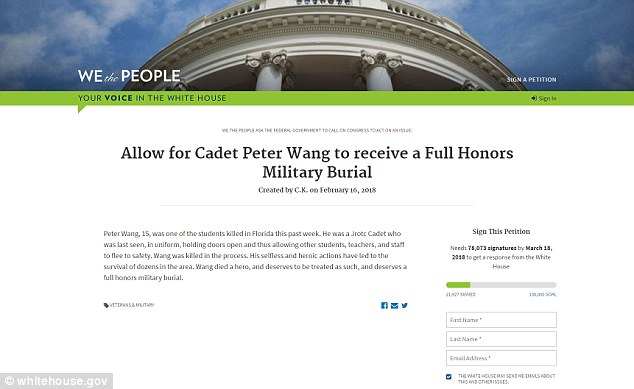 A petition is underway for Peter, whose dream was to attend West Point and later join the military, to receive full military honors and burial