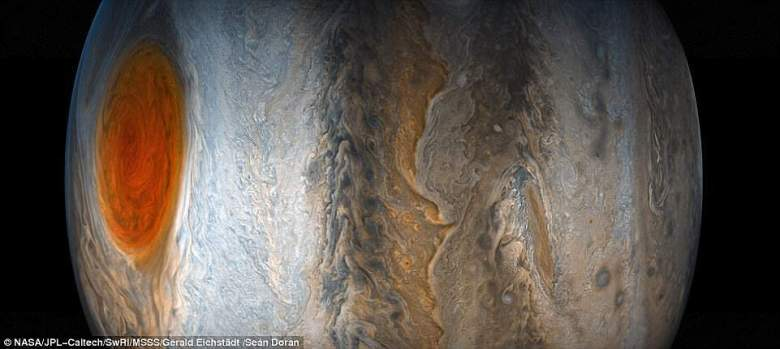 A researcher with the Juno mission says that the Great Red Spot has been shrinking for a long time and is only 1.3 times the size of Earth, whereas inthe late 1800s it was the width of four Earths