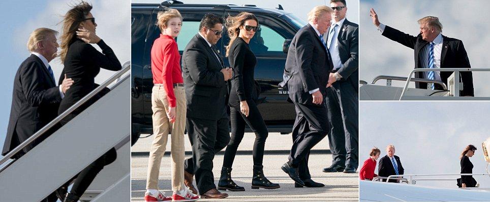 Trump, Melania and Barron head back to D.C.