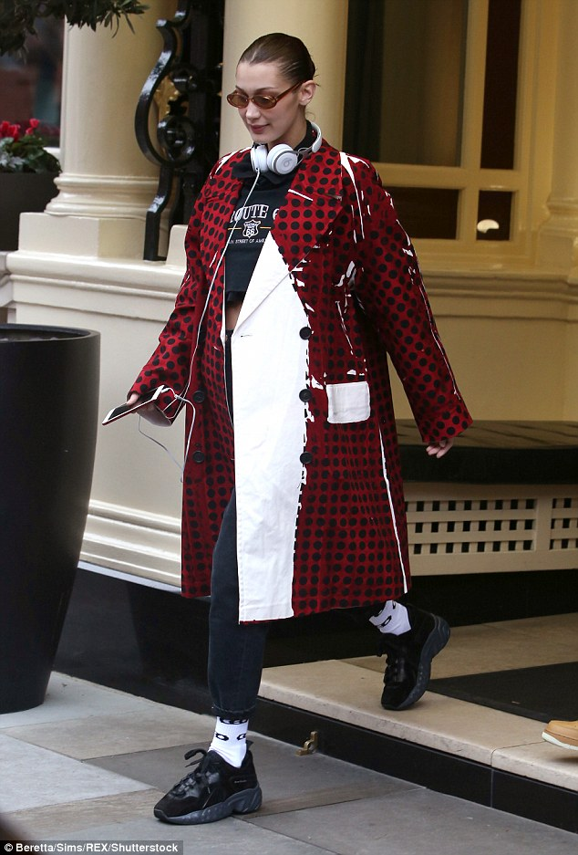Dotty for fashion: Bella previously turned heads when she headed out in London during LFW earlier that day