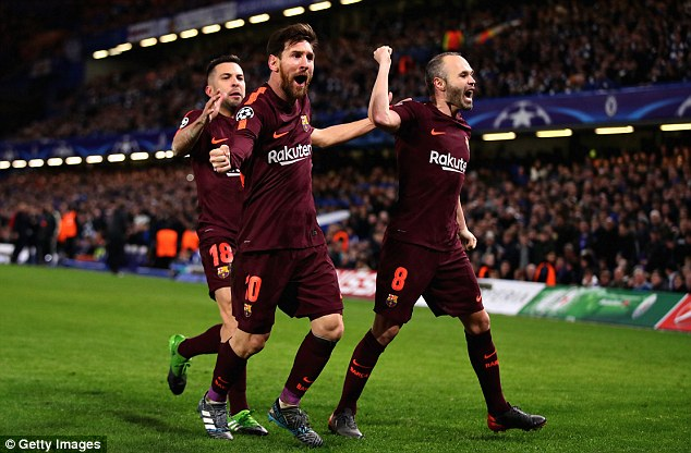 Lionel Messi (centre) made the most of a Chelsea mistake to equalise for the Spanish side