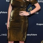 Kate Upton stuns in Gold dress at Breitling Global Roadshow in NYC